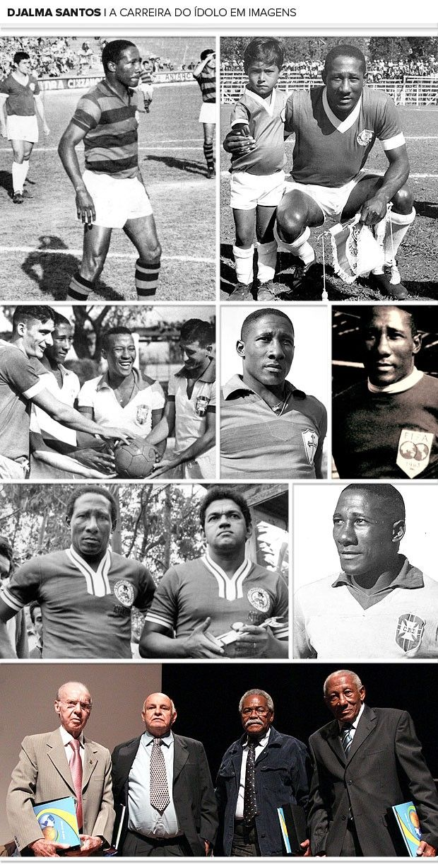 """Djalma Dos Santos ( Born Feb. 27 1929 - Dead Jul. 23 2013), considered by many to be Brazil's best Right Back. He consecrated the """"attacking"""" defensive wing position. He helped lead Brazil to two World Cup Championships 1958 and 1962. He helped give Brazil the reputation as a powerhouse and long lasting dynasty.  Rest in peace."""