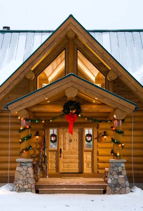 Photos of a Winter Log Cabin in Montana Log homes, Cabin