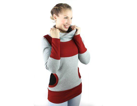 Factory Outlets meistverkauft erstklassige Qualität Sweater Damen hellgrau rot schwarz, Pullover mit Kragen und ...