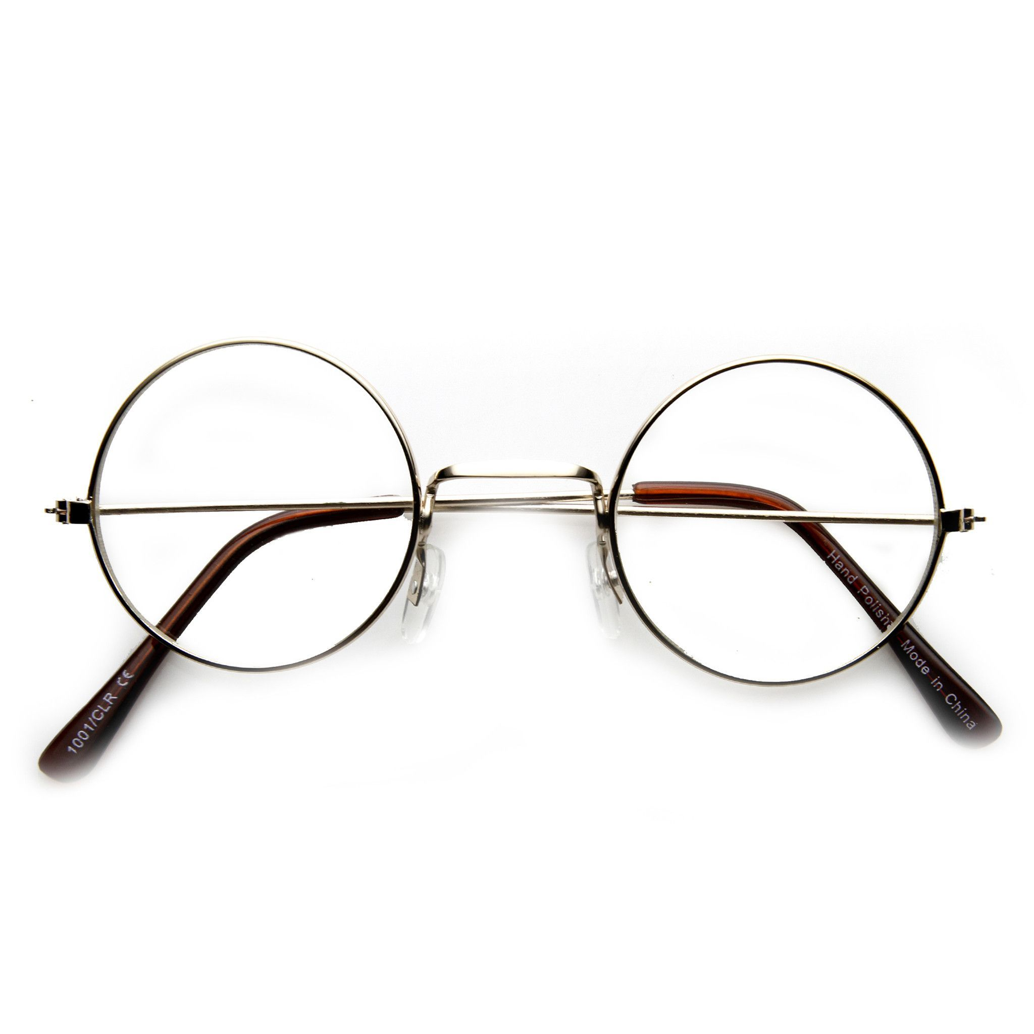 d5b0dccd0c Vintage Inspired Round Metal Frame Clear Lens Glasses - zeroUV