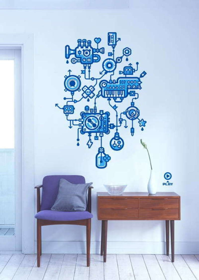 Creative wall decor with blue color theme engine cool Creative wall decor ideas