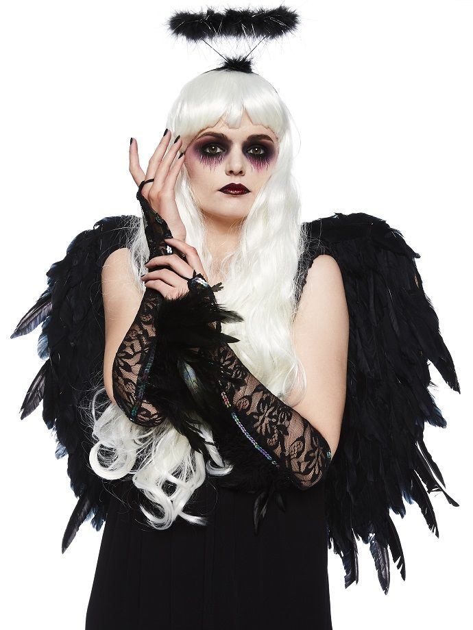 Delights Halloween Gothic Large Black Feather Angel Wings