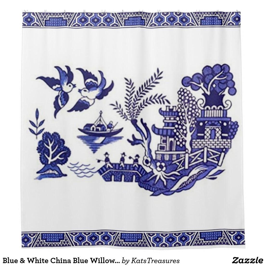 Blue White China Blue Willow Design Shower Curtain Zazzle Com