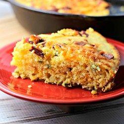 Cheesy Bacon Jalapeno Skillet Cornbread Recipe -