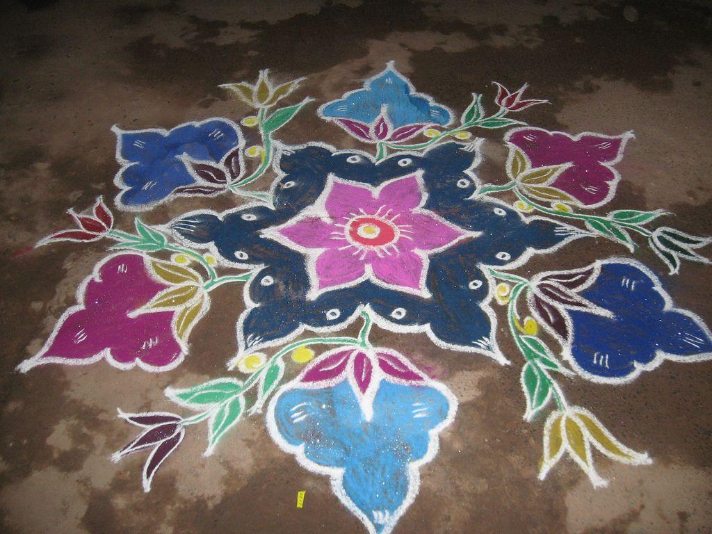 flower kolam in 2020 Simple rangoli, Flowers, Art