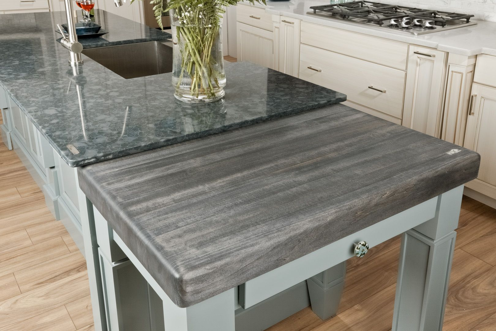 Custom butcher block top by Cafe Countertops http://www