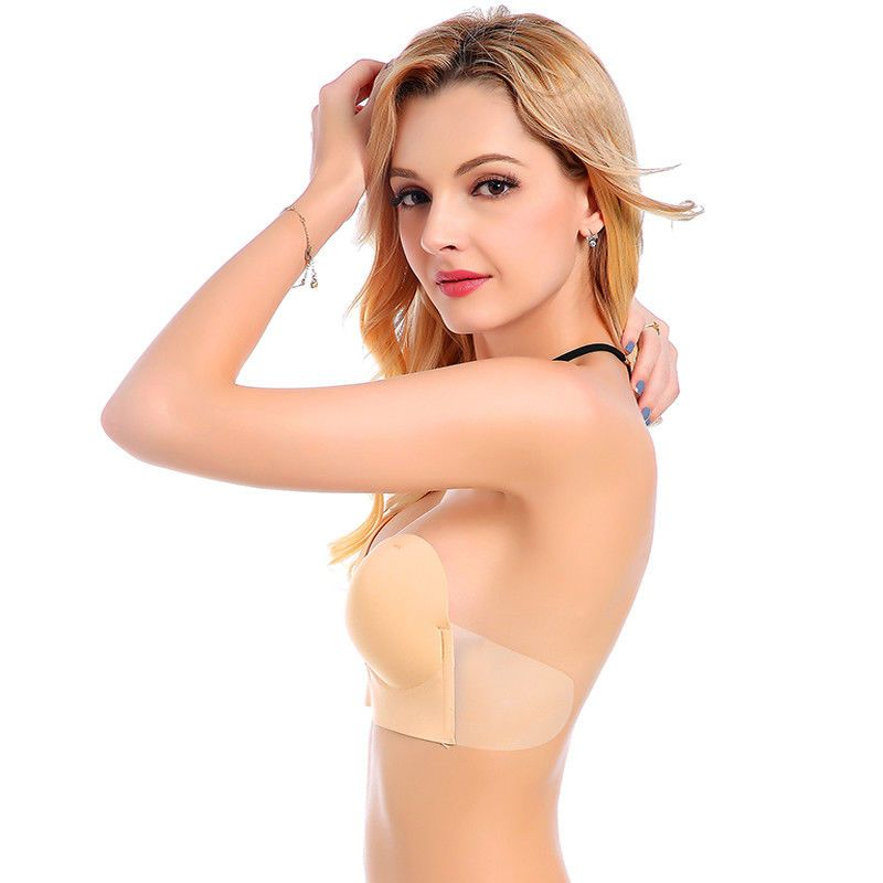 34c2b8edf54 Invisible Push Up Strapless Bras Sticky Self-Adhesive Silicone Deep U  Plunge Bra