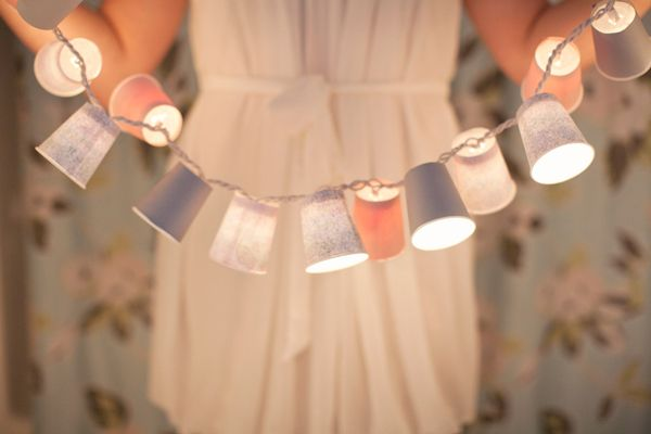 Party light string made from plastic cups... Perfect for a house party!  www.heygorg.com/2011/08/diy-dixie-cup-garland.html