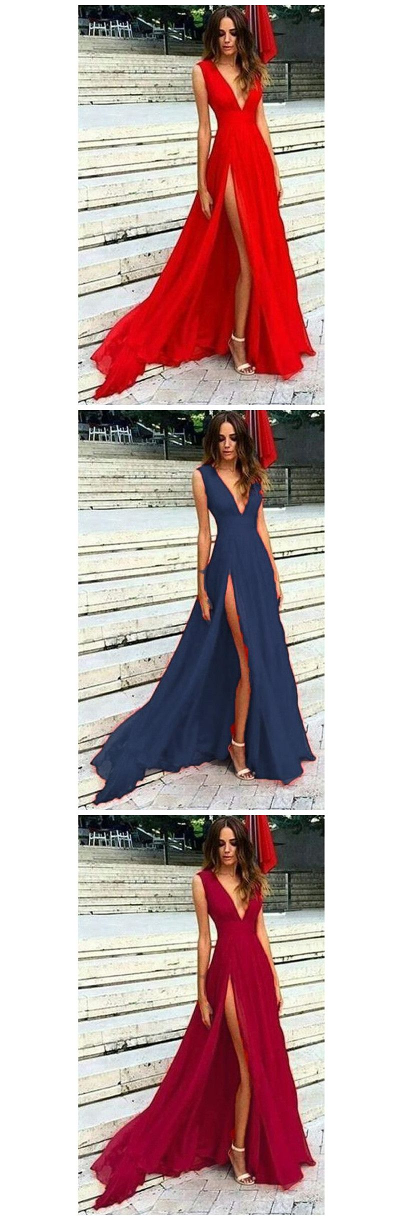 New arrival prom dress red long sexy slit prom dress v neck evening
