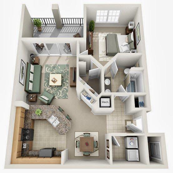 Departamentos peque os planos y dise o en 3d espacios - Diseno de casas 3d ...