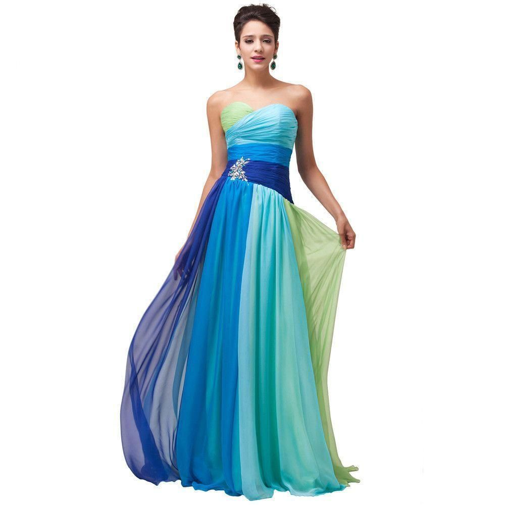 Colorful Blue Green Red Chiffon Long Evening Dresses Rainbow Prom ...