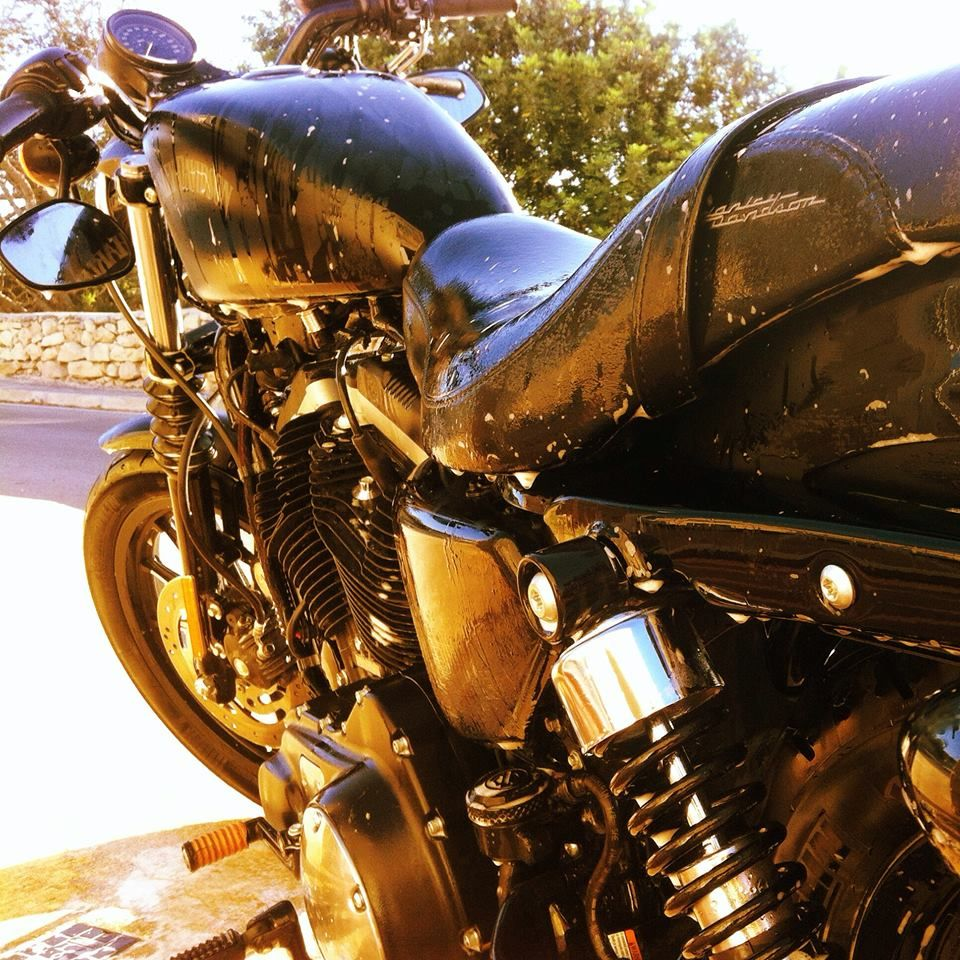 My 883 Iron Getting all clean again. Love this bike :)