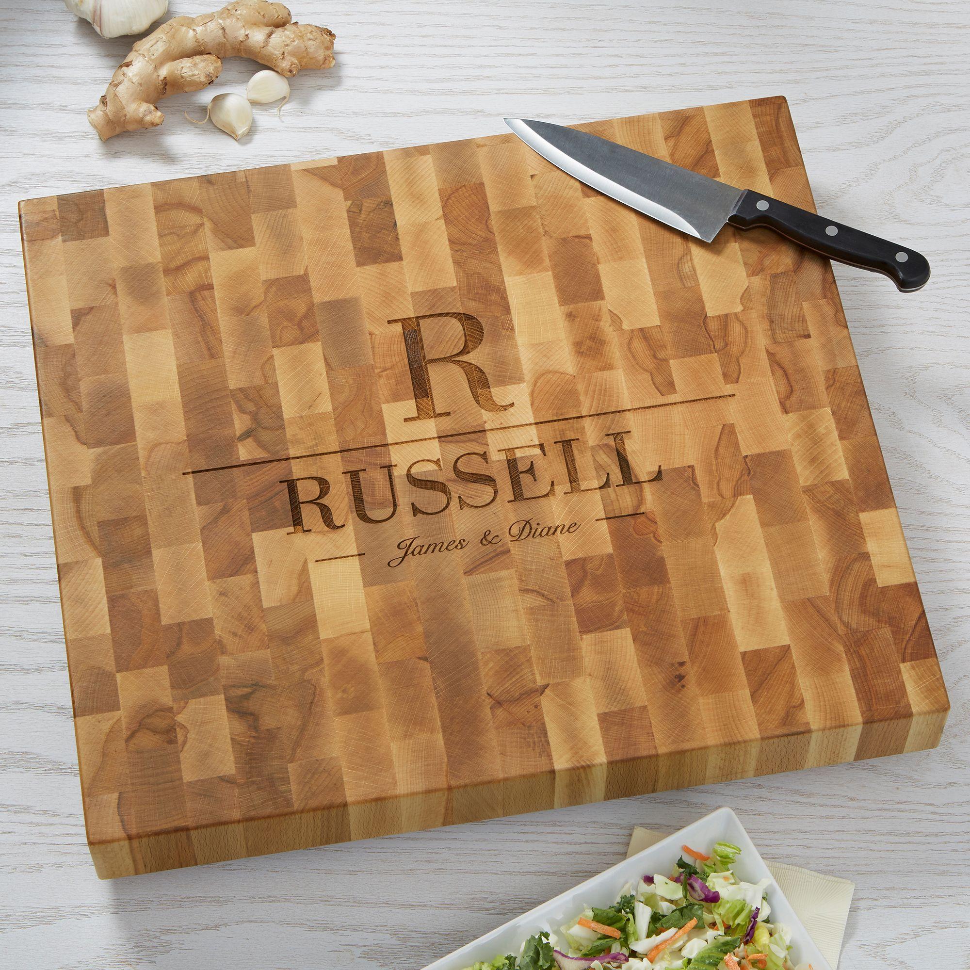 decorative name u initial personalized butcher block cutting