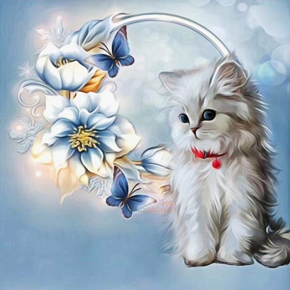5D Diamond Painting Cat Animal DIY Embroidery Cross Stitch Home Decor Art Kit