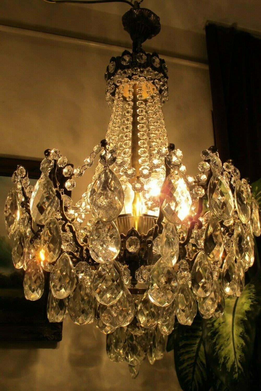 Antique Vnt Huge French Spider Style Crystal Chandelier Light