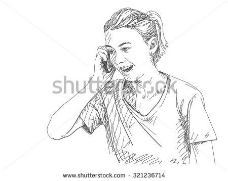 Sketch Of Woman Talking Mobile Phone Hand Drawn Vector Illustration In 2020 Drawing People Woman Sketch Hand Drawn Vector Illustrations