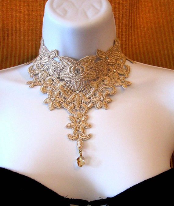statement necklace jewelry lace choker gold bridal necklace lace collar 30 off josephine. Black Bedroom Furniture Sets. Home Design Ideas