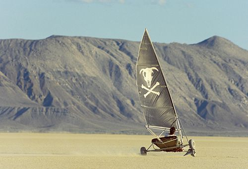 "Nevada has many claims to fame, and you can add one more to the list: land sailing. The Silver State is arguably the premier land-sailing destination in the United States. ""We have the dry lakebeds, the hard mud,"" says nine-time national champion and current treasurer of the North American Land Sailing Association, Mark Harris. ""Nevada is a very popular location because we can go the fastest."" Photo by Scott T. Smith"