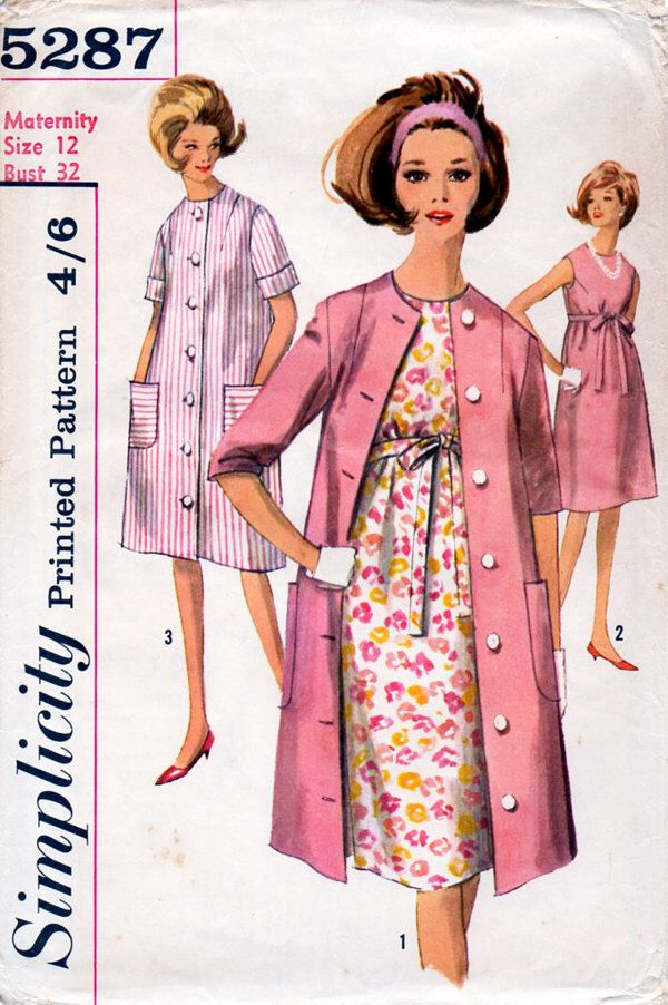 1960s Maternity Dress & Coat Vintage Sewing Pattern - Simplicity 5287 Bust 32 by BessieAndMaive on Etsy https://www.etsy.com/au/listing/154888403/1960s-maternity-dress-coat-vintage