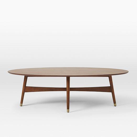 Reeve Mid Century Oval Coffee Table Pecan Mid Century Modern