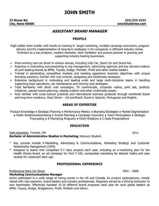 click here to download this assistant brand manager resume template
