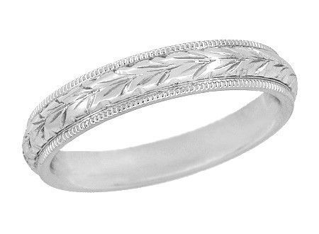 Art Deco Millgrain Edged Hand Engraved Wheat Wedding Ring In White Gold 4mm Wide In 2020 Wedding Ring Hand Antique Wedding Rings Wedding Band Engraving
