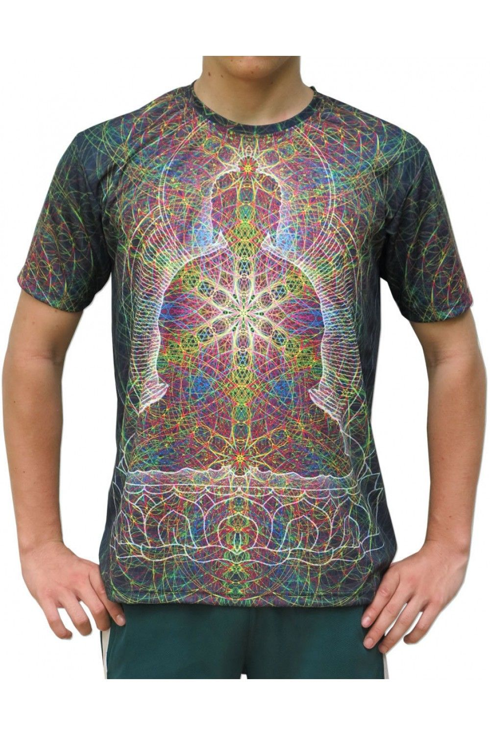 "Sublime S/S T : Rainbow Buddha Fully printed short sleeve T shirt. This shirt is an ""All Over"" printed T shirt that will really grab people's attention. The design is printed using sublimation printing on a high quality polyester / Dri-Fit blended shirt. This allows for extremely vibrant colors that will never fade away no matter how many times it gets washed, & results in an extremely soft ""feel"" to the shirt, providing ultimate comfort. Artwork by Luke Brown"