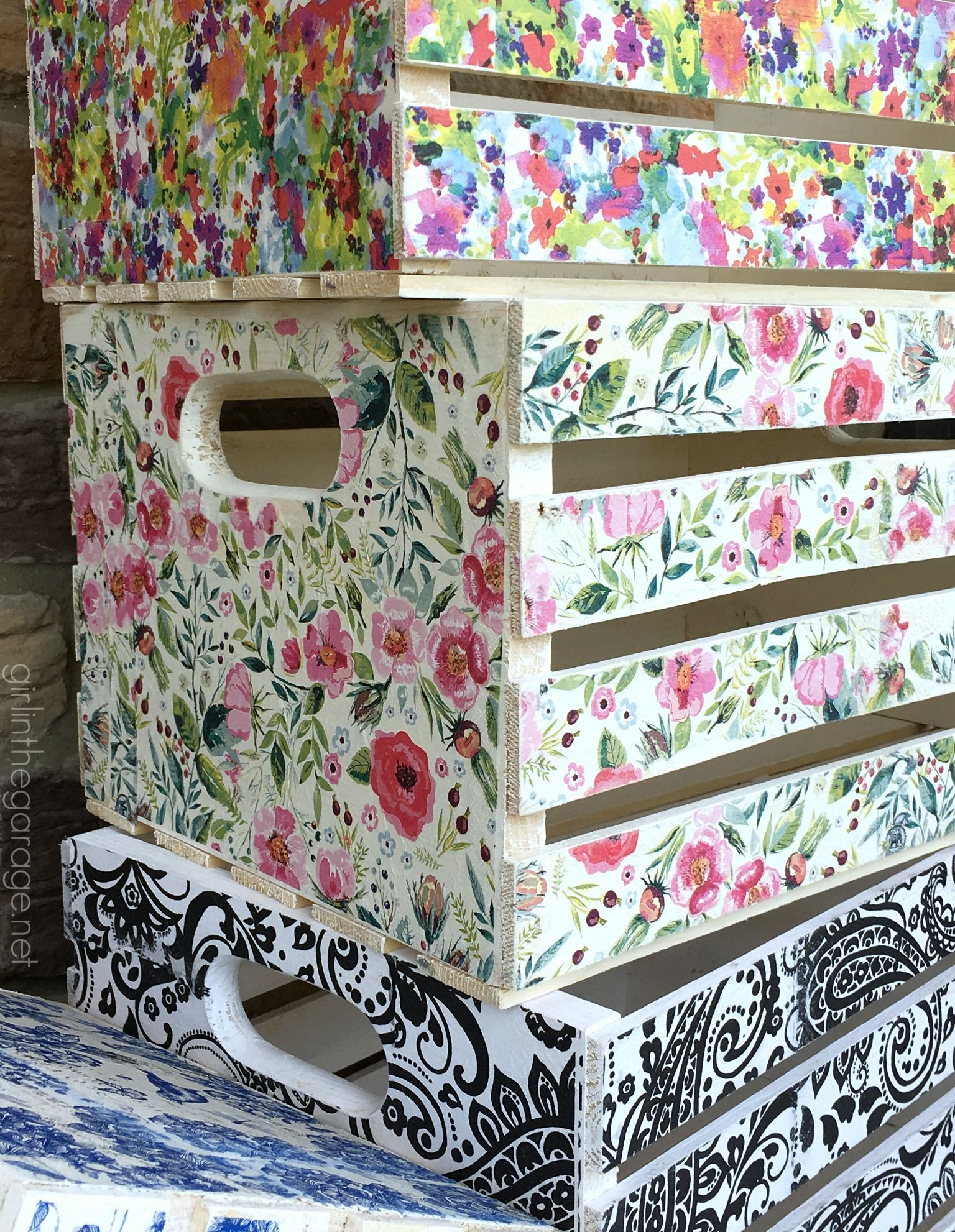 Decoupage Crates Framed Cork Boards And Drawer Shelves Blog Posts Girl In The Garage