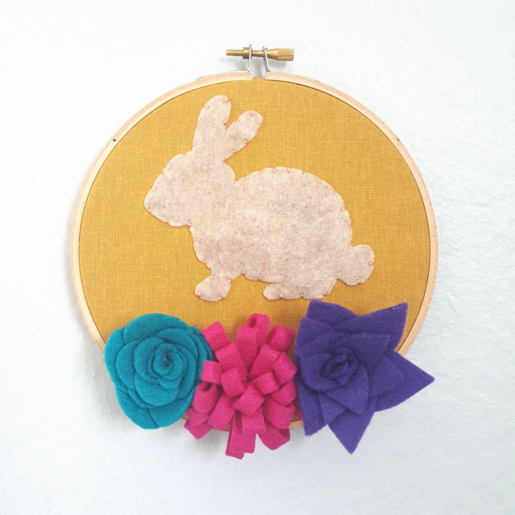 Rabbit Embroidery with Felt Flowers Wall Art | Embroidery Hoop Art ...