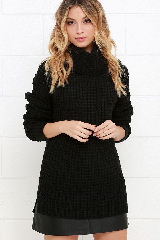 6f353257f4 This comfy and cozy waffle knit sweater has a large cowl neck and long