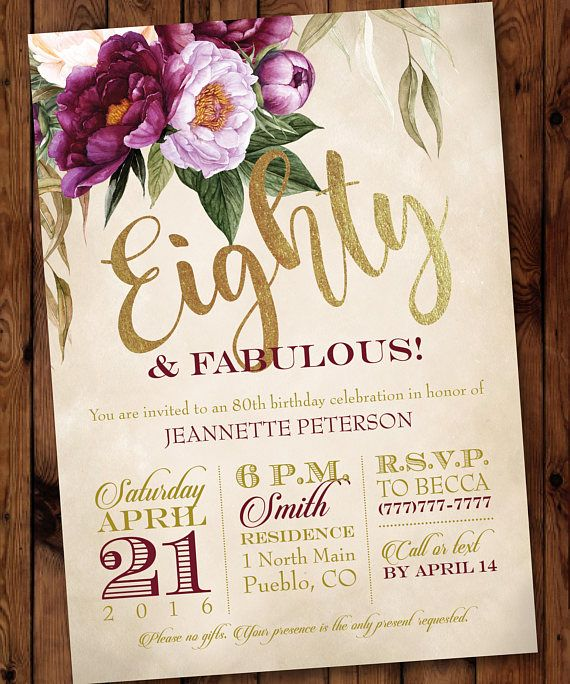 80 Fabulous Birthday Invitation 80th 70th 60th 50th Adult Female Purple Floral