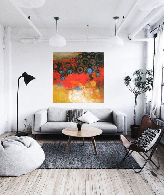 Red Abstract Art Canvas Extra Large Artwork Oversized Wall Art Etsy Minimalist Living Room Decor Modern Minimalist Living Room Minimalist Living Room #oversized #wall #art #for #living #room