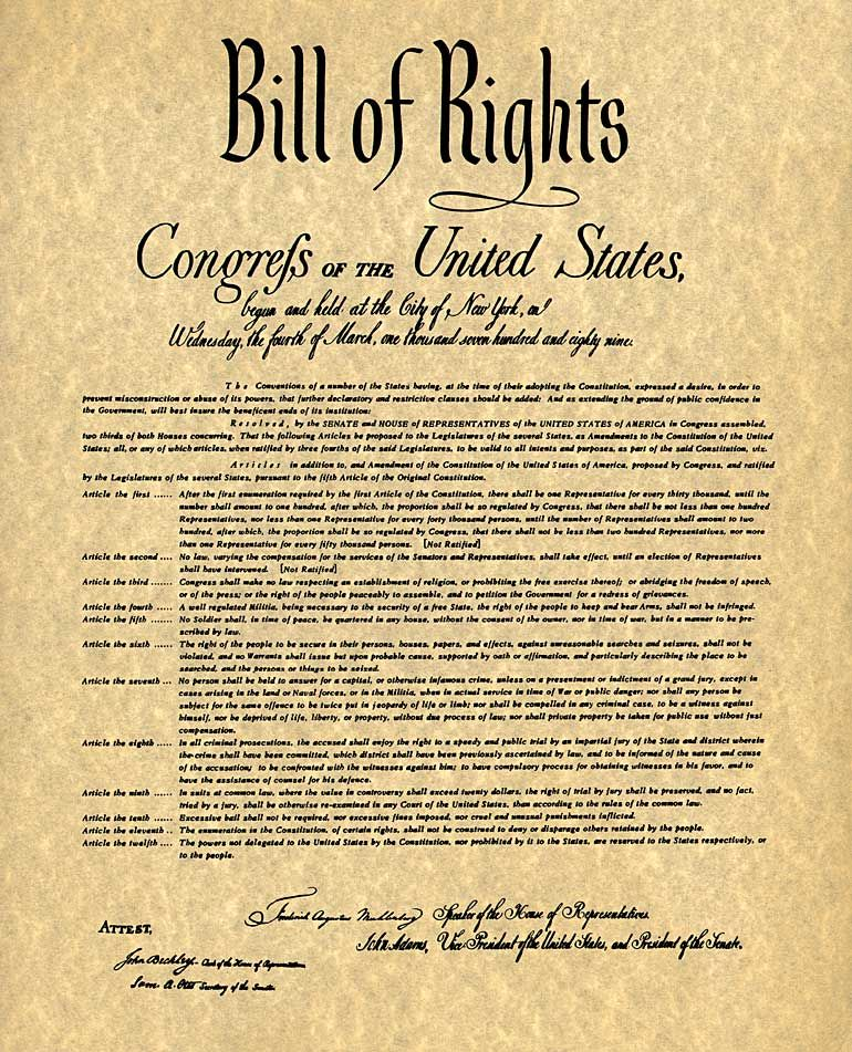 examples of bill of rights in the united states On december 15, 1791, the bill of rights (the first ten amendments to the united states constitution) were ratified by the states the bill of rights were added to the constitution to address fears raised by the anti-federalists during the ratification of the constitution that the constitution did .