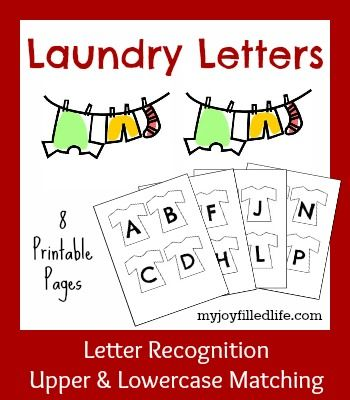Laundry Letters - an upper/lower case matching game with FREE printables