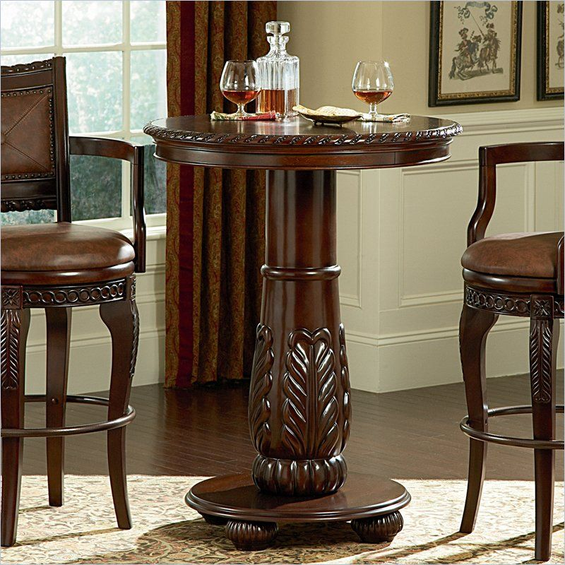Steve Silver Antoinette Wood Top Round Pub Table in Cherry Finish : pedestal pub table set - pezcame.com