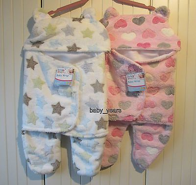 BABY HOODED SWADDLE WRAP GIRLS BOYS SOFT FLEECE BLANKET WITH LEGS 0-3 MONTHS NEW