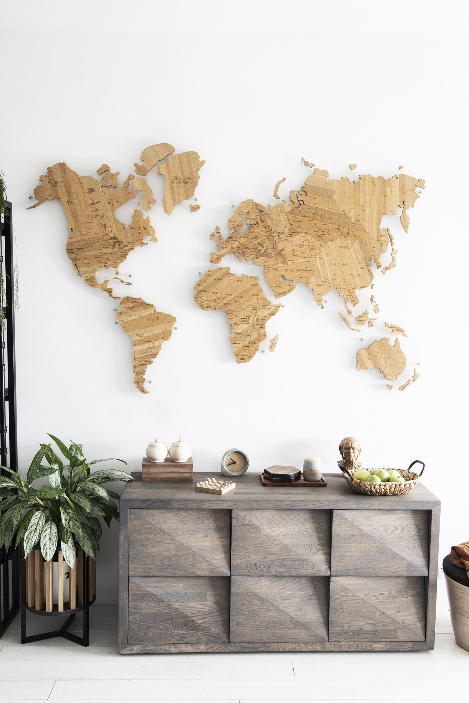 Real Large Wooden World Map By Gadenmap Push Pin Travel Map For