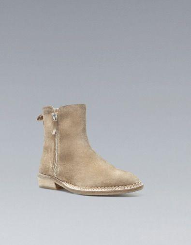 flat suede boot, zara #zara #suede #boot