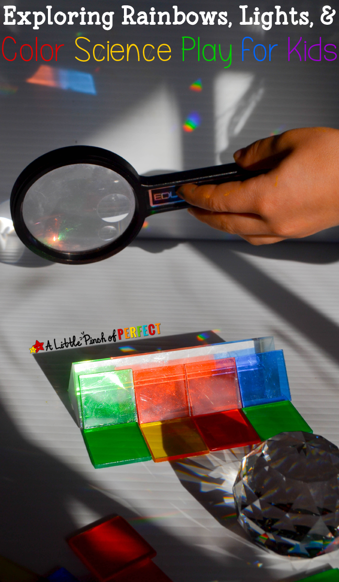 Exploring Rainbows, Lights, and Color Science Play for Kids: Kids can create rainbows and refract light using prisms or cds like a raindrop while exploring color and light for an exploratory science activity for hands on learning. This activity is perfect for spring, St. Patrick's Day science, or learning about weather and rainbows.