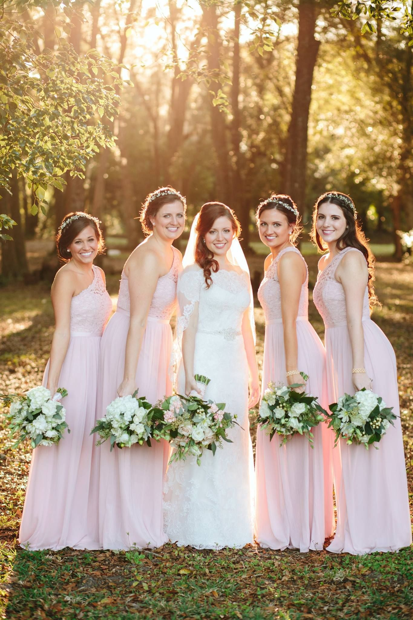 Curls and flower crowns for a lovely pink wedding day! | Kristy's Artistry & Design