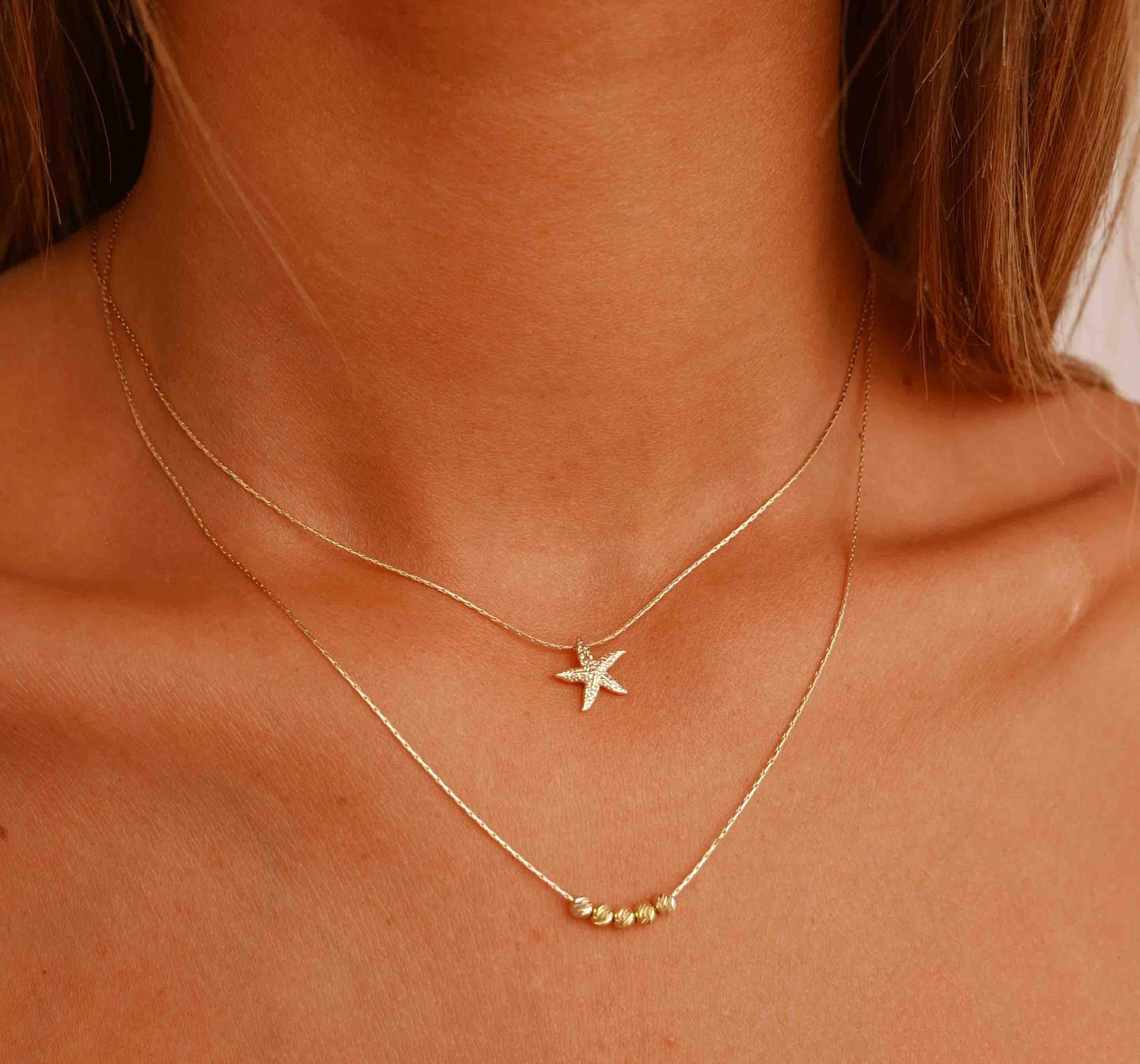 de55c715761d Capas de oro collar - collar de oro lleno - collar oro - oro estrella de  mar - conjunto de 2 collares - Boho collar de la conjunto Set de 2 oro ...