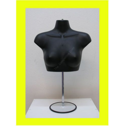 Black Female Upper Torso Mannequin Form W Metal Base Countertop