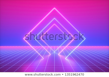 3d Render Pink Blue Neon Lights Abstract Background Virtual Reality Square Shape Vibrant Colors Laser Show Blue Neon Lights Neon Neon Lighting