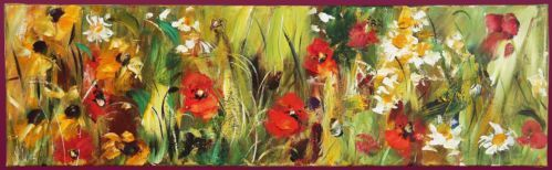 "Brand new original Lynne Wilkinson Painting  Title: ""Wildflower Meadow 2"" Oil on canvas 30x100cm Starting bid at only £425! Original retail price £450!  Free Shipping!  The painting is sold by Heartbeat Gallery Sheffield and comes with all paperwork and 14 days money back guarantee.  Here's the painting and the artist's profile on the Gallery website http://www.heartbeatgallery.com/#!lynne-wilkinson/c8il"