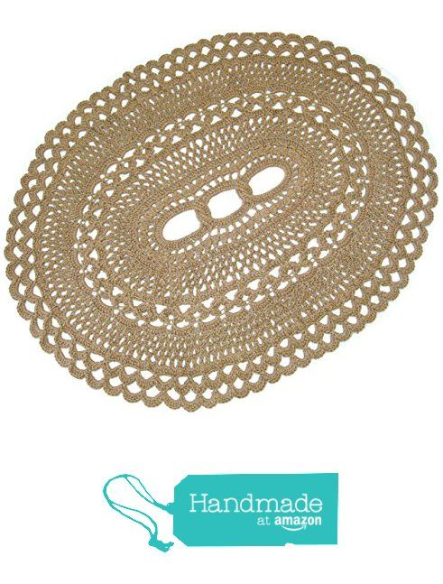 "Oval Area Jute Rug - Natural Fiber - Handmade Crochet - Dramatic Statement Rug - 62"" x 52"" from Exotiflora http://www.amazon.com/dp/B015M4WKZQ/ref=hnd_sw_r_pi_dp_Z48Lwb1J60CYX #handmadeatamazon"