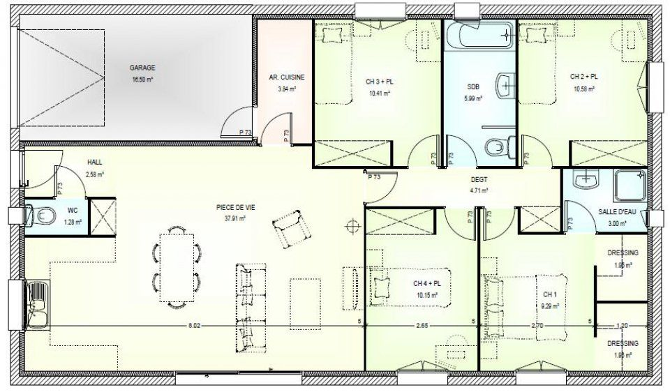 plan maison plain pied 5 pieces