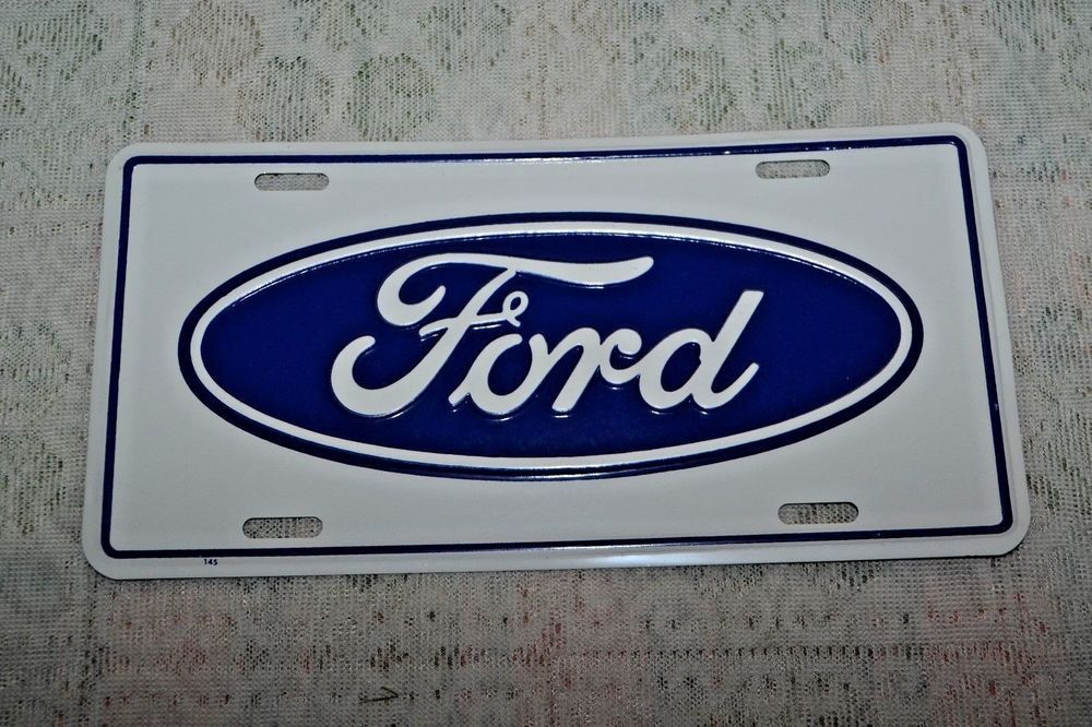 Vintage Ford Oval Logo License Plate Blue White Stamped Aluminum