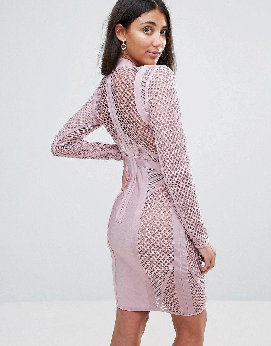 Amy lynn occasion long sleeve paneled bandage dress pink formal