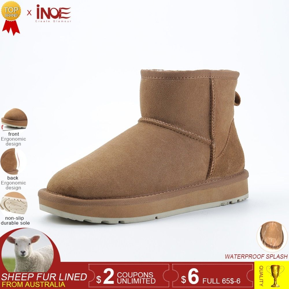 INOE Classic sheepskin leather wool fur lined women winter ankle suede snow  boots for women short basic winter shoes black brown Review 73f94b20a87f