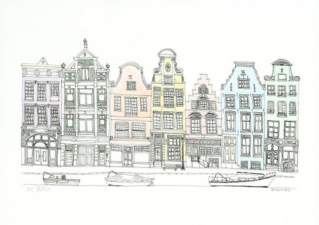 Dutch House Line Art Building Illustration City Sketch House
